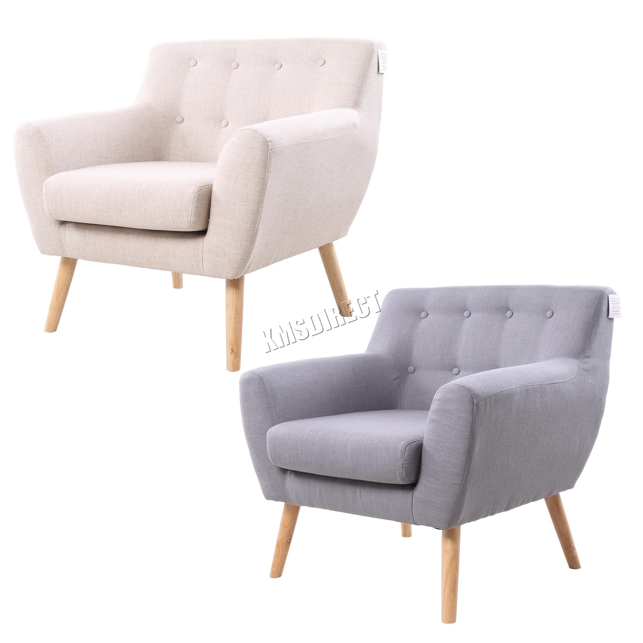 Foxhunter Linen Fabric 1 Single Seat Sofa Tub Arm Chair Dining In Single Seat Sofa Chairs (View 6 of 20)