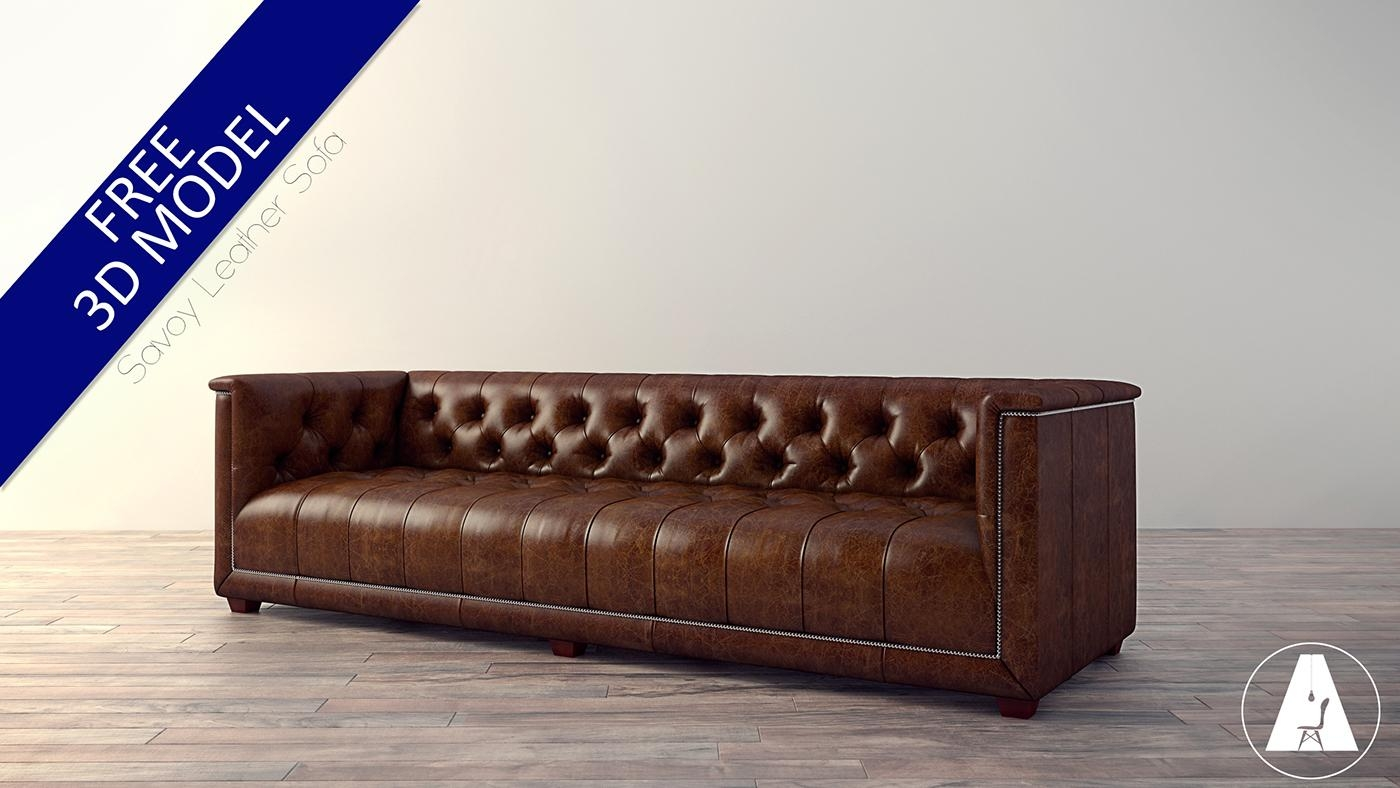 Free 3D Model  Savoy Leather Sofa On Behance With Regard To Savoy Leather Sofas (Image 8 of 20)