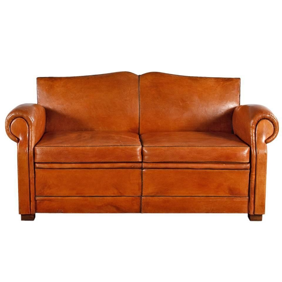French Art Deco Leather Club Sofa, 1930S At 1Stdibs With 1930S Sofas (Image 13 of 20)