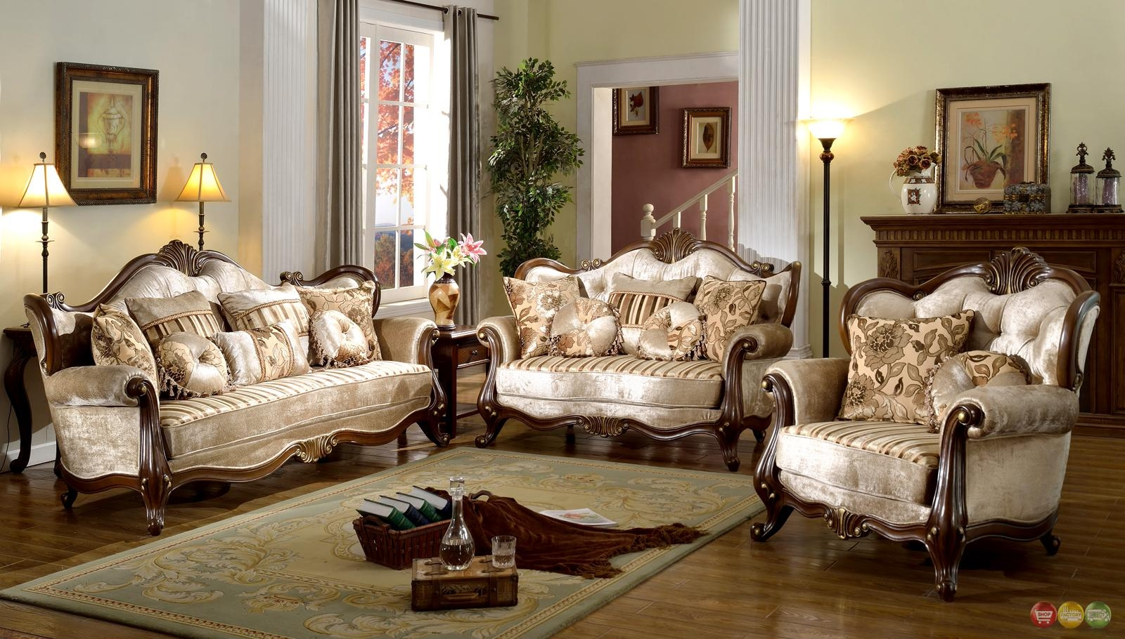 French Provincial Formal Antique Style Living Room Furniture Set Intended For Living Room Sofa Chairs (Image 7 of 20)