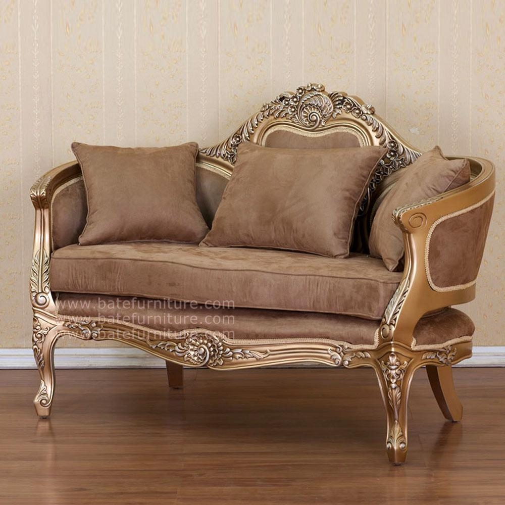 French Style Sofa 2 Seater Gold | Indonesian French Furniture Within French Style Sofa (Image 8 of 20)