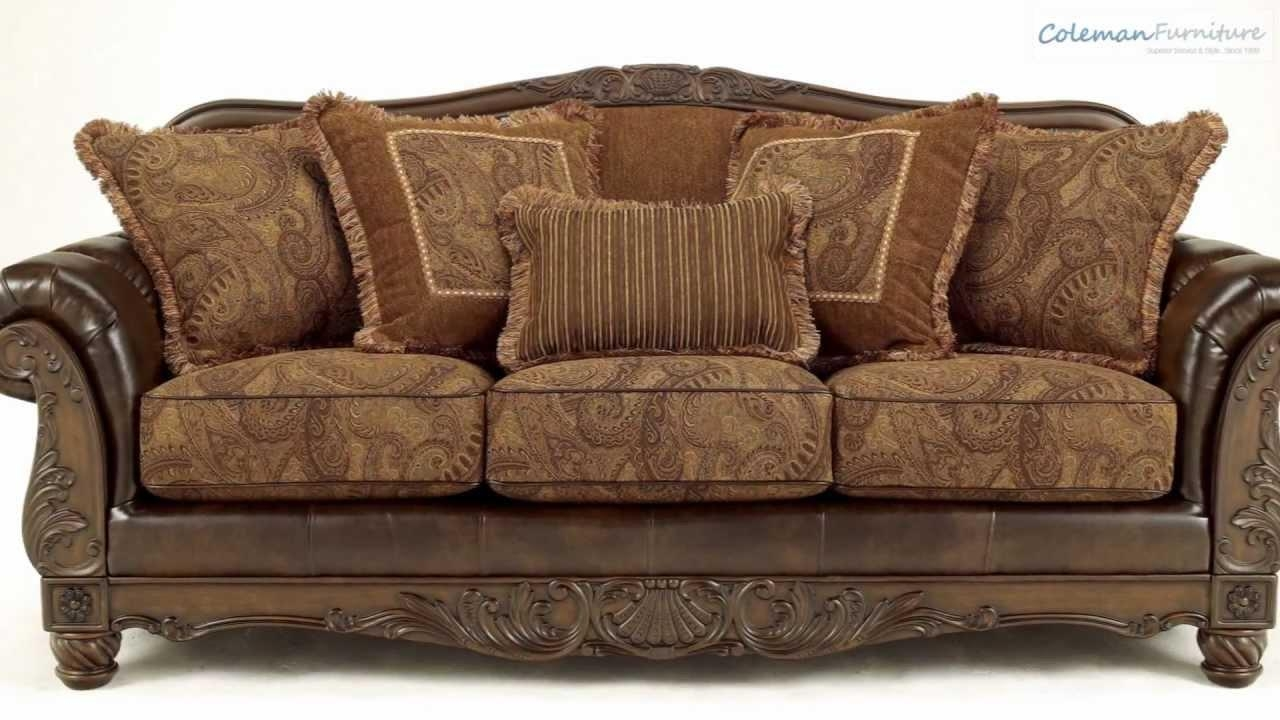 Fresco Durablend Antique Living Room Collection From Signature Within Bradington Truffle Sofas (Image 15 of 20)