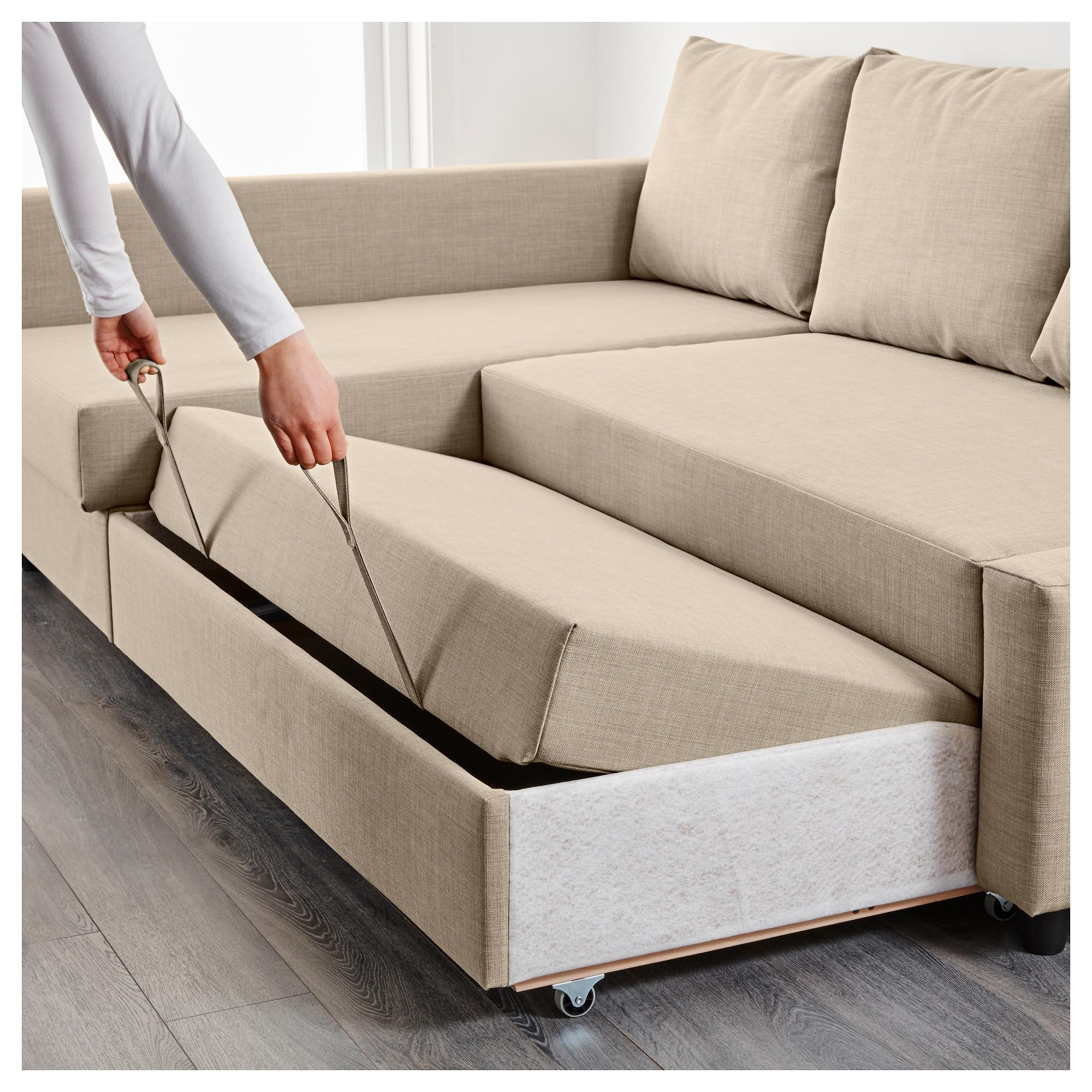 Friheten Corner Sofa Bed With Storage Skiftebo Beige – Ikea Throughout Ikea Storage Sofa Bed (Image 5 of 20)