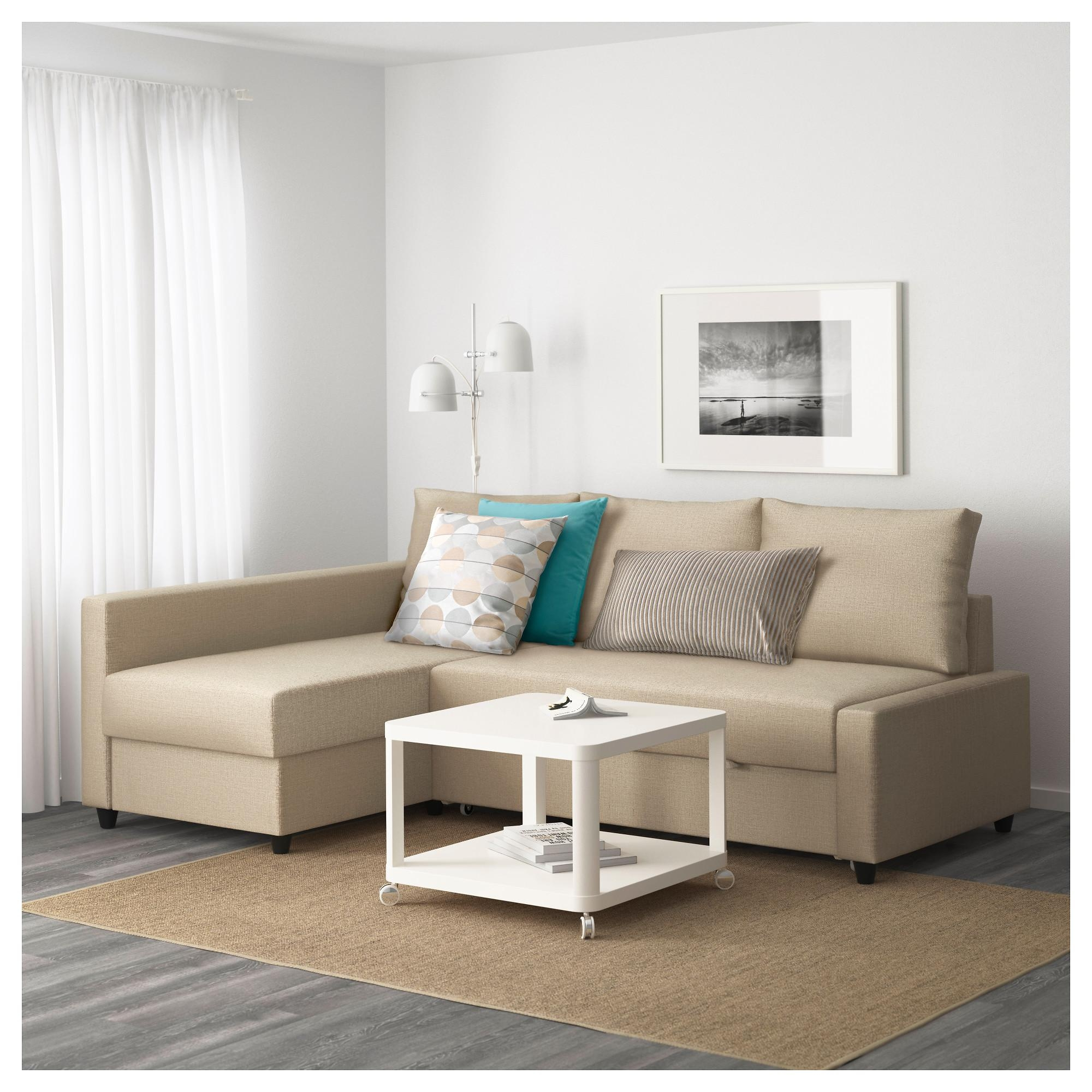 Friheten Corner Sofa Bed With Storage Skiftebo Beige – Ikea With Storage Sofas Ikea (Image 7 of 20)
