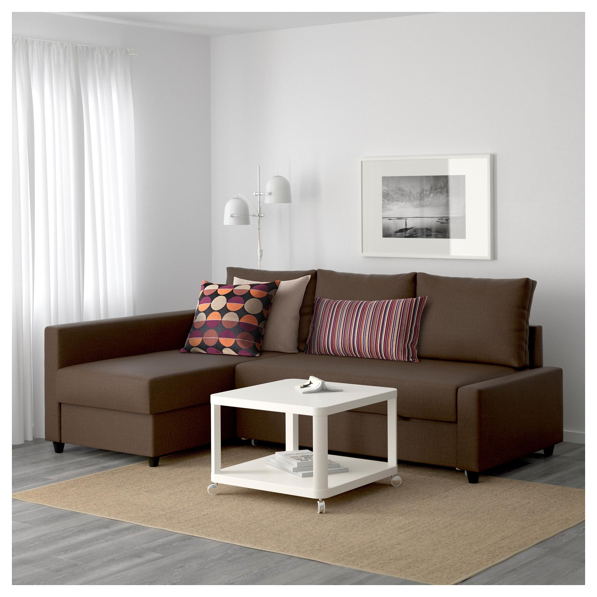 Friheten Corner Sofa Bed With Storage Skiftebo Brown – Ikea Intended For Ikea Sofa Storage (View 12 of 20)