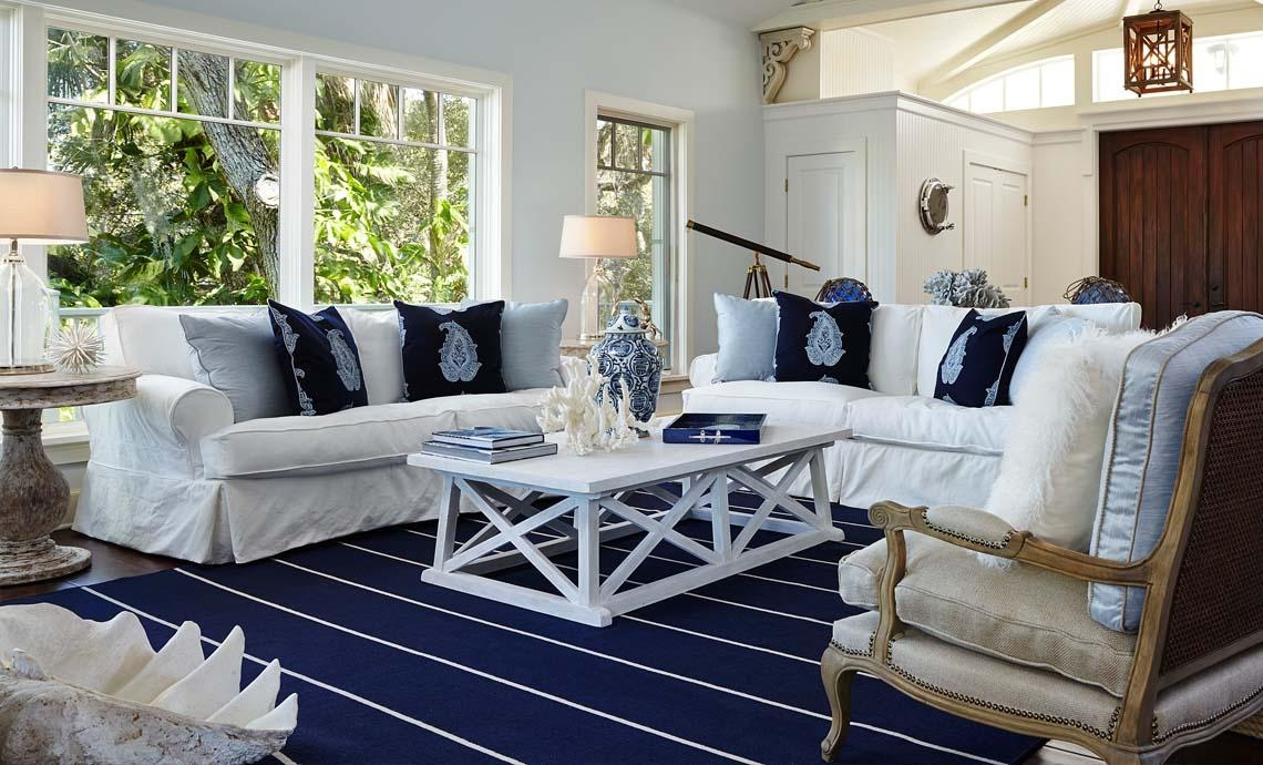 Funiture: Coastal Furniture Ideas For Living Room With White Within Blue And White Sofas (View 4 of 20)