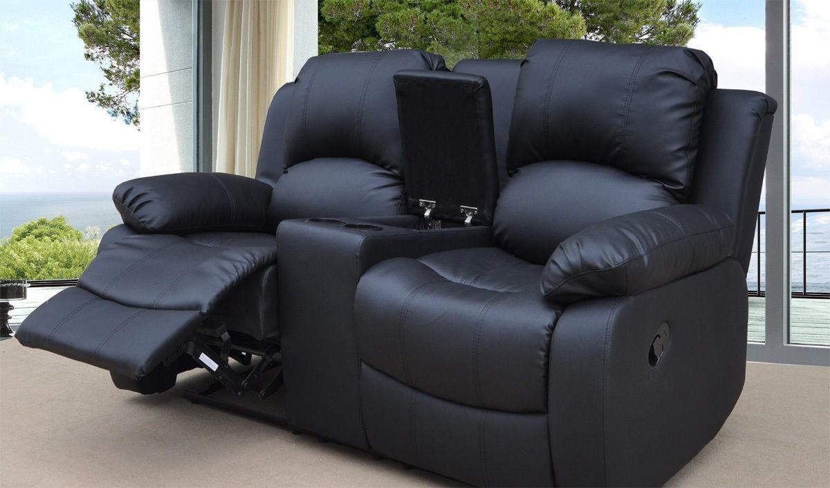 Funiture: Modern Reclining Sofa Ideas For Living Room Using Black Pertaining To 2 Seater Recliner Leather Sofas (Image 8 of 20)