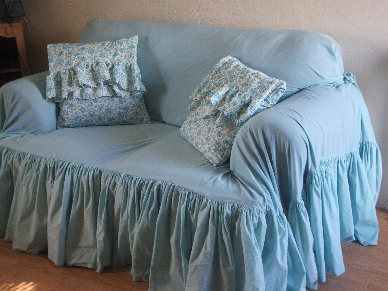 Furniture: 2 Piece Sofa Slipcover | Shabby Chic Sofa Slipcovers Regarding Shabby Slipcovers (Image 11 of 20)