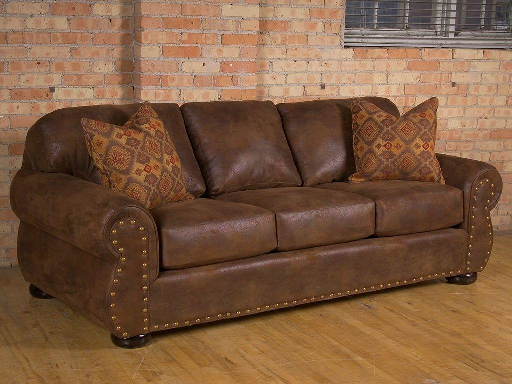 Furniture: Awesome Nailhead Sofa Ideas For Living Room Design Throughout Brown Leather Sofas With Nailhead Trim (Image 9 of 20)