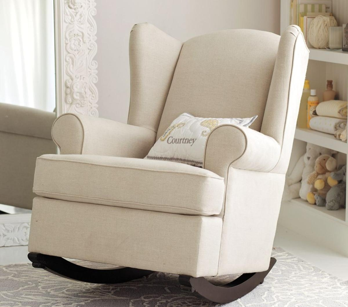 Furniture: Beautiful Upholstered Rocking Chair For Home Furniture Intended For Sofa Rocking Chairs (Image 4 of 20)