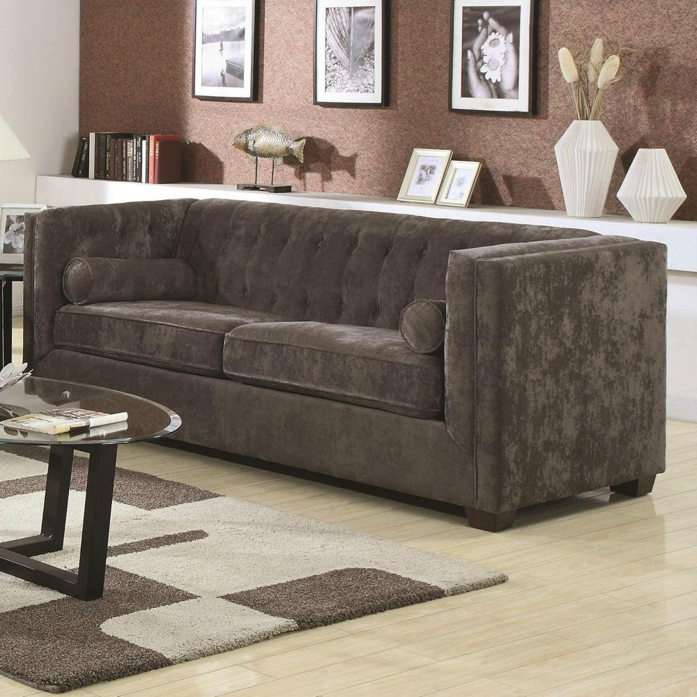 Furniture: Beautiful Velvet Couch For Living Room Furniture Ideas For Brown Velvet Sofas (View 18 of 20)