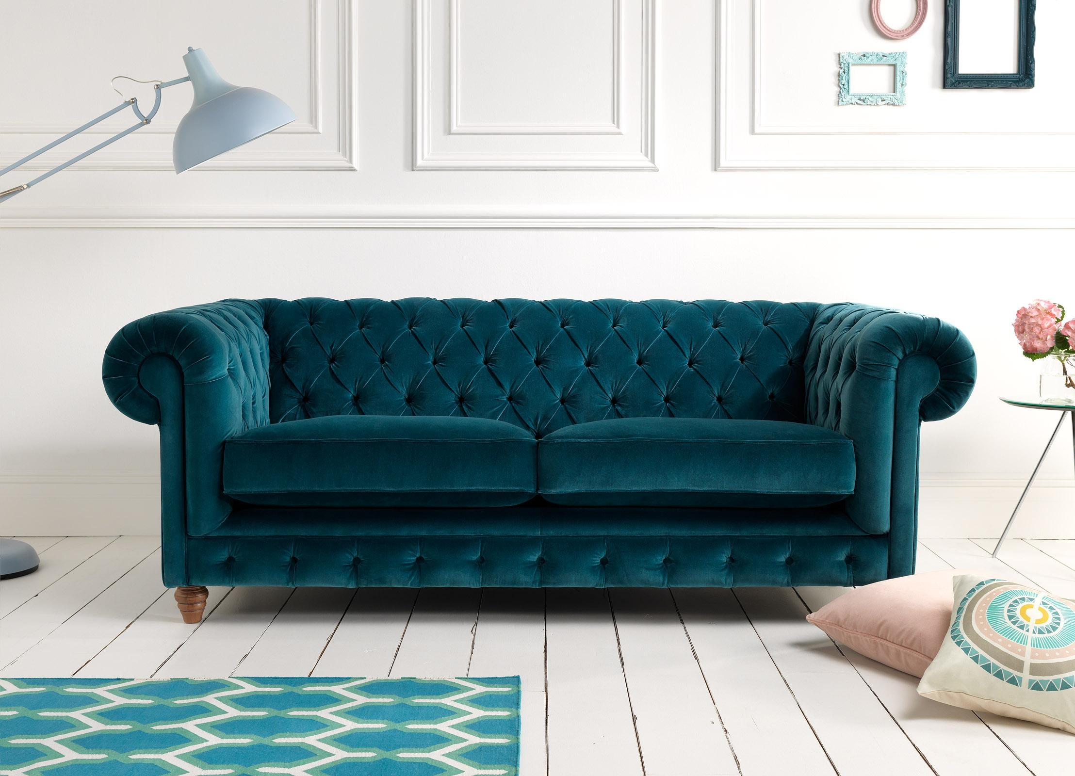 Furniture: Beautiful Velvet Couch For Living Room Furniture Ideas With Regard To Purple Chesterfield Sofas (Image 8 of 20)