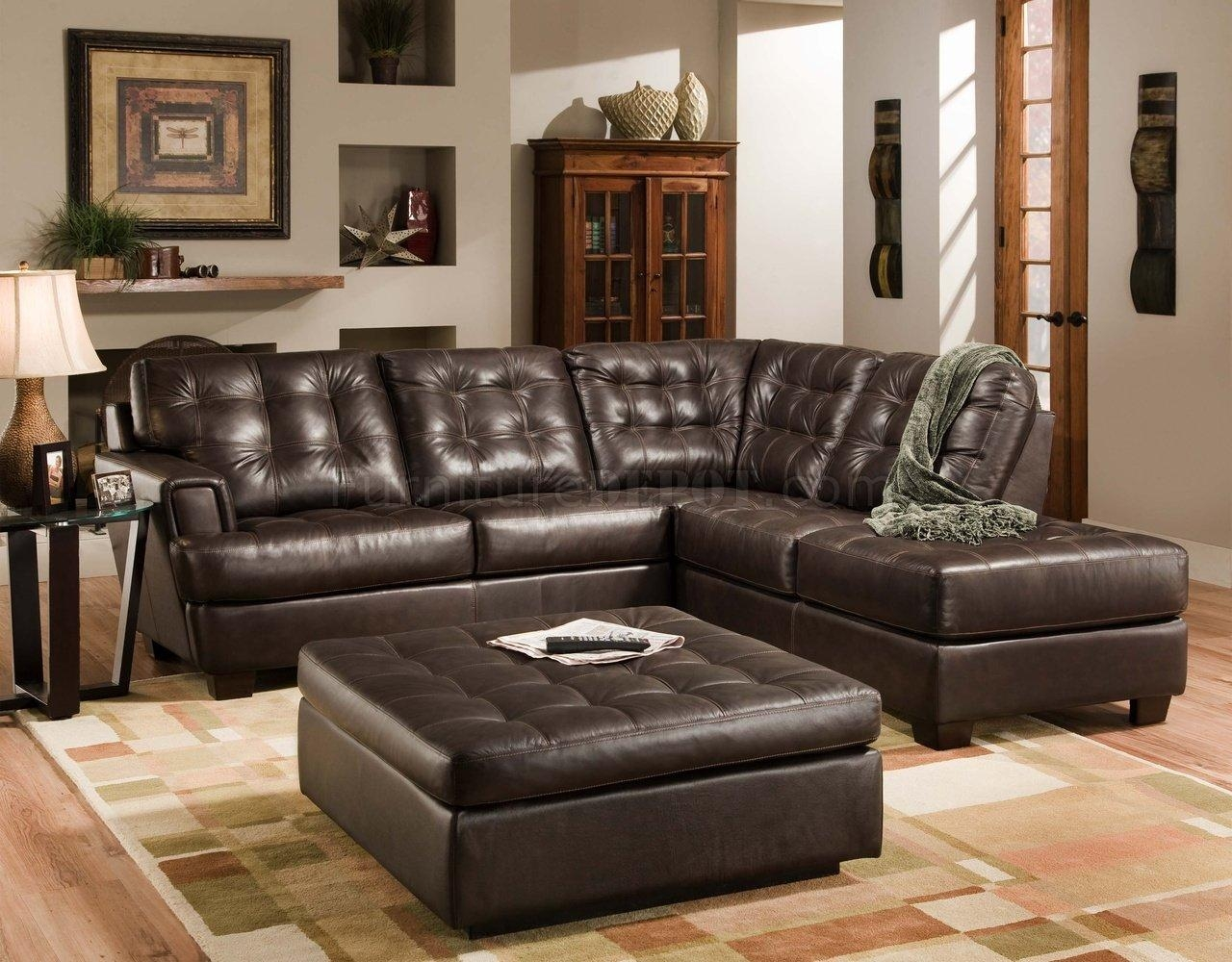 Furniture: Best Design Of Brown Leather Sectional For Modern Pertaining To  Leather Modular Sectional Sofas