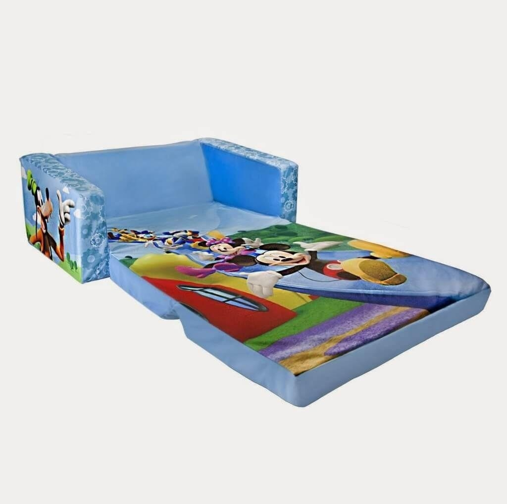 Furniture: Best Mickey Mouse Kids Sofa Bed And Blue Kids Sofa Bed With Mickey Fold Out Couches (Image 4 of 20)