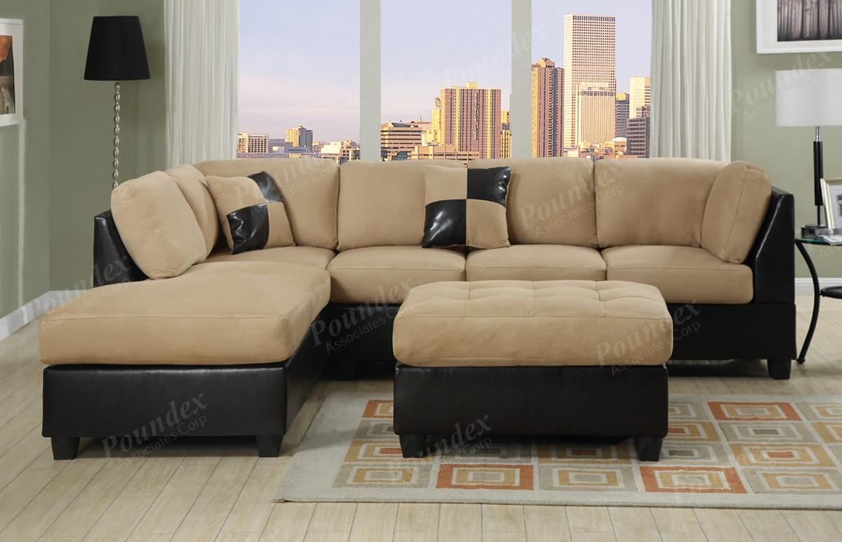 Furniture: Black Microfiber Sectionals | Suede Sectional Sofa For Leather And Suede Sectional (Image 5 of 20)