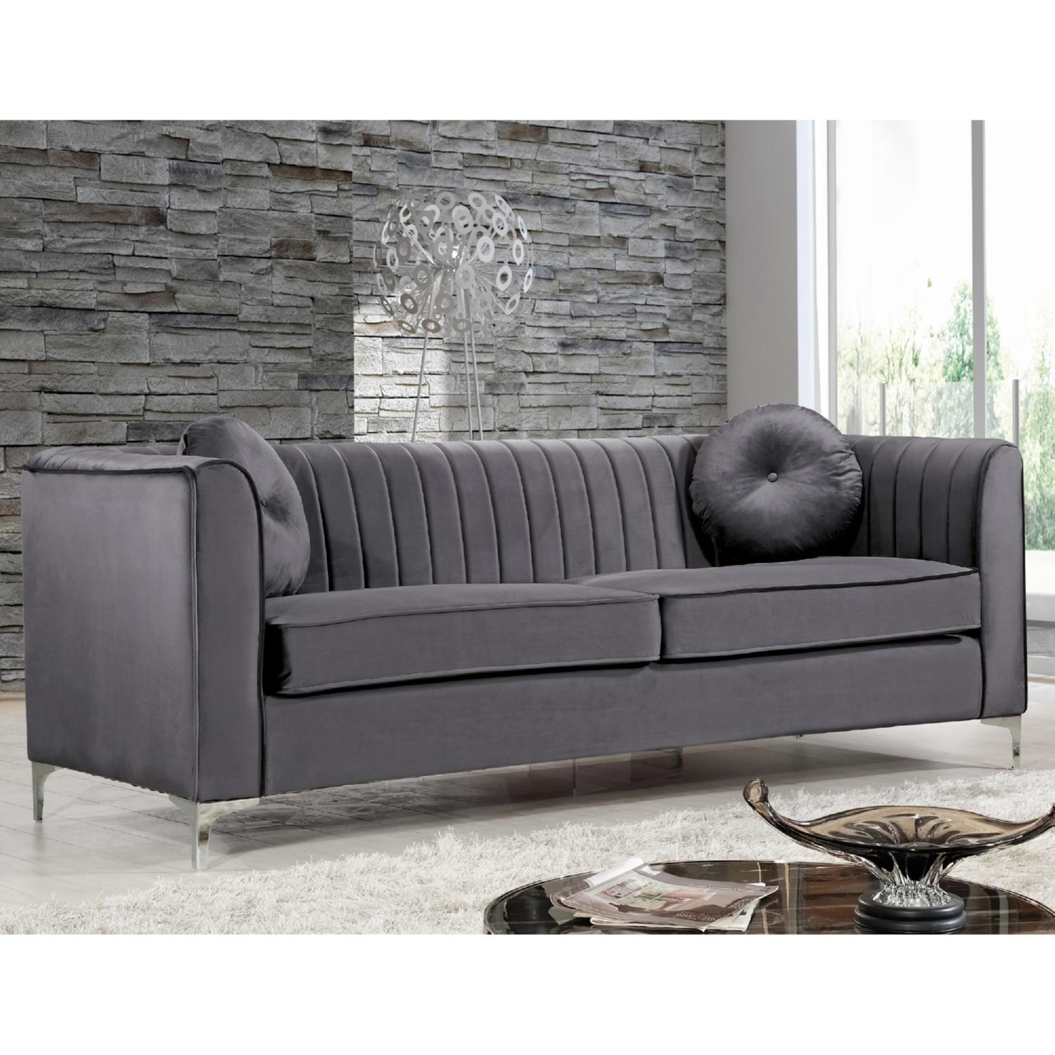 Furniture: Breathtaking Grey Velvet Sofa For Charming Home For Sofas With Chrome Legs (Image 9 of 20)