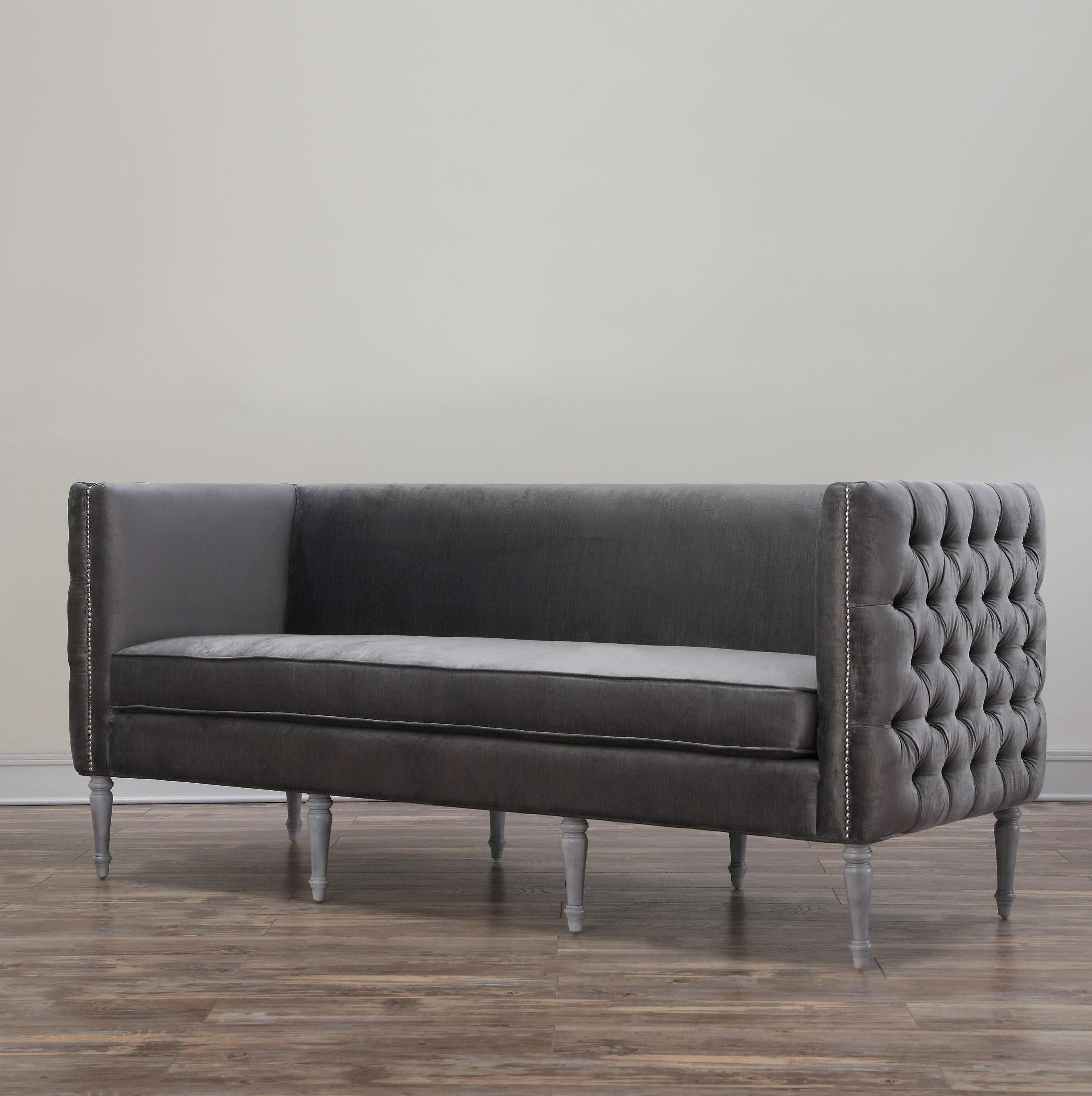 Furniture: Breathtaking Grey Velvet Sofa For Charming Home Inside Barrister Velvet Sofas (Image 14 of 20)
