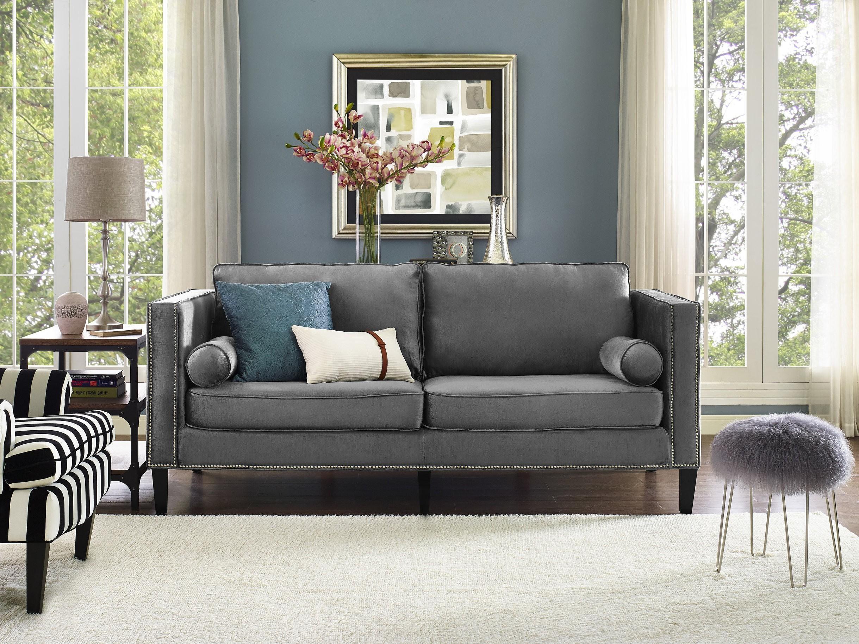 Furniture: Breathtaking Grey Velvet Sofa For Charming Home Within Barrister Velvet Sofas (View 16 of 20)