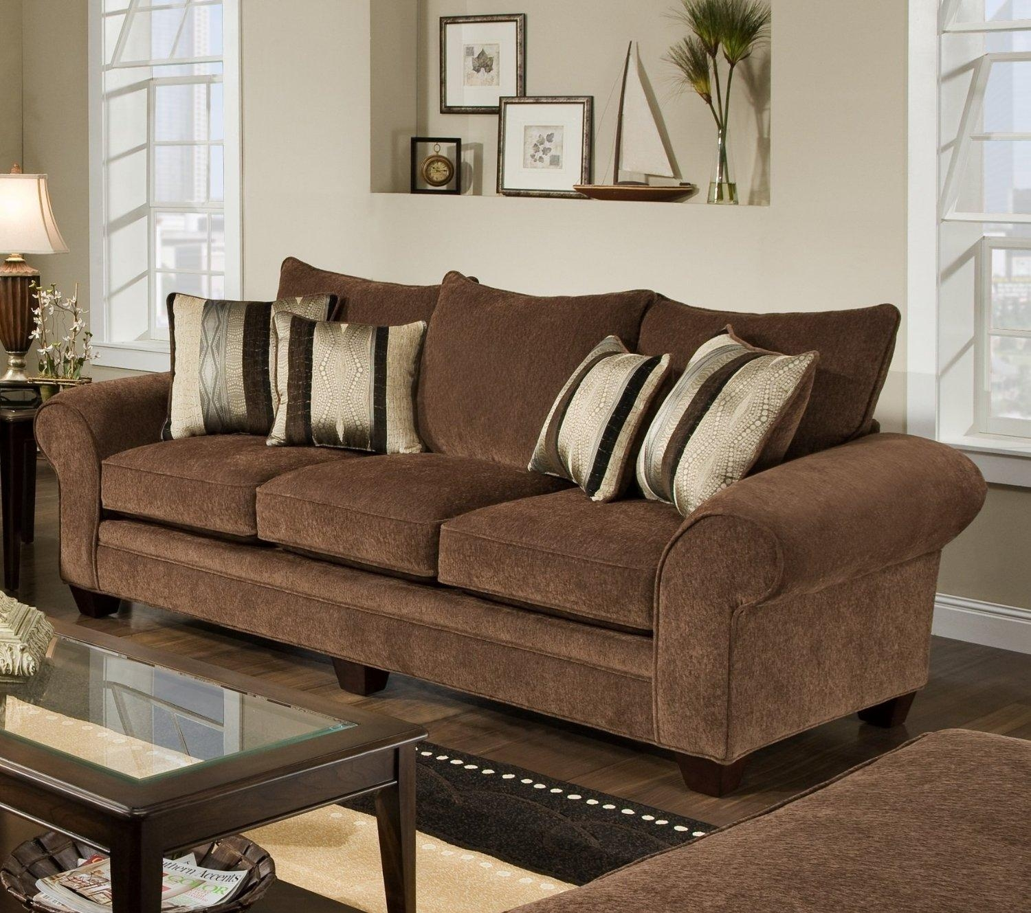 Furniture: Brown Benchcraft Furniture Sofa Decor With Glass And Intended For Benchcraft Leather Sofas (Image 15 of 20)