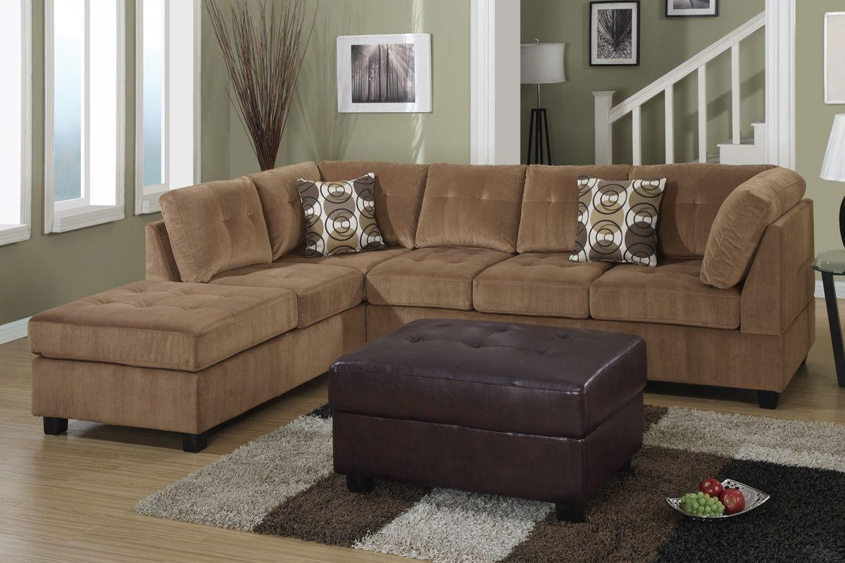 Furniture: Brown Microfiber Sectional Couch | Microfiber Sectional Within Small Microfiber Sectional (Image 3 of 20)