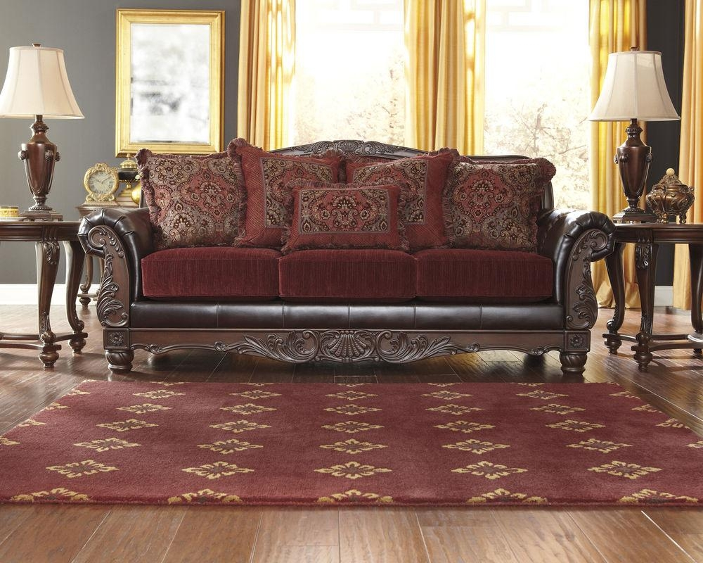 Furniture: Burgundy Couch | Wine Leather Sofa | Maroon Sofas For Benchcraft Leather Sofas (Image 16 of 20)