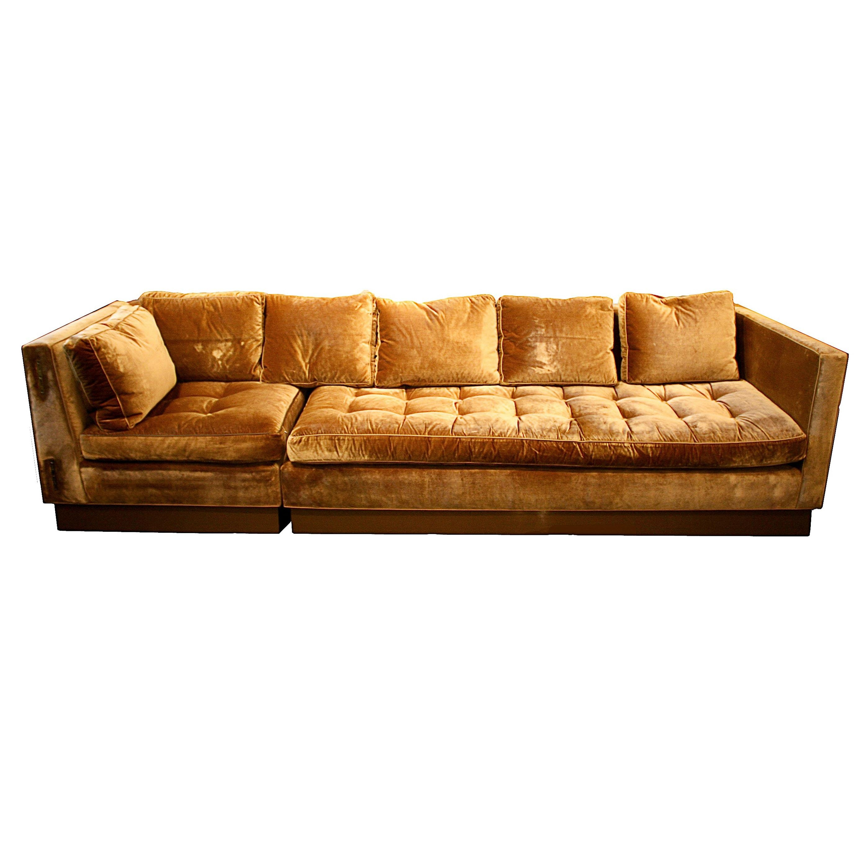 Furniture: Classic And Traditional Style Velvet Sectional Sofa For Intended For Gold Sectional Sofa (Image 6 of 15)