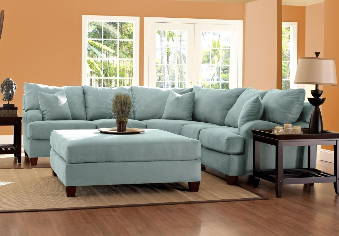 Furniture: Classic And Traditional Style Velvet Sectional Sofa For Pertaining To Blue Microfiber Sofas (Image 6 of 20)