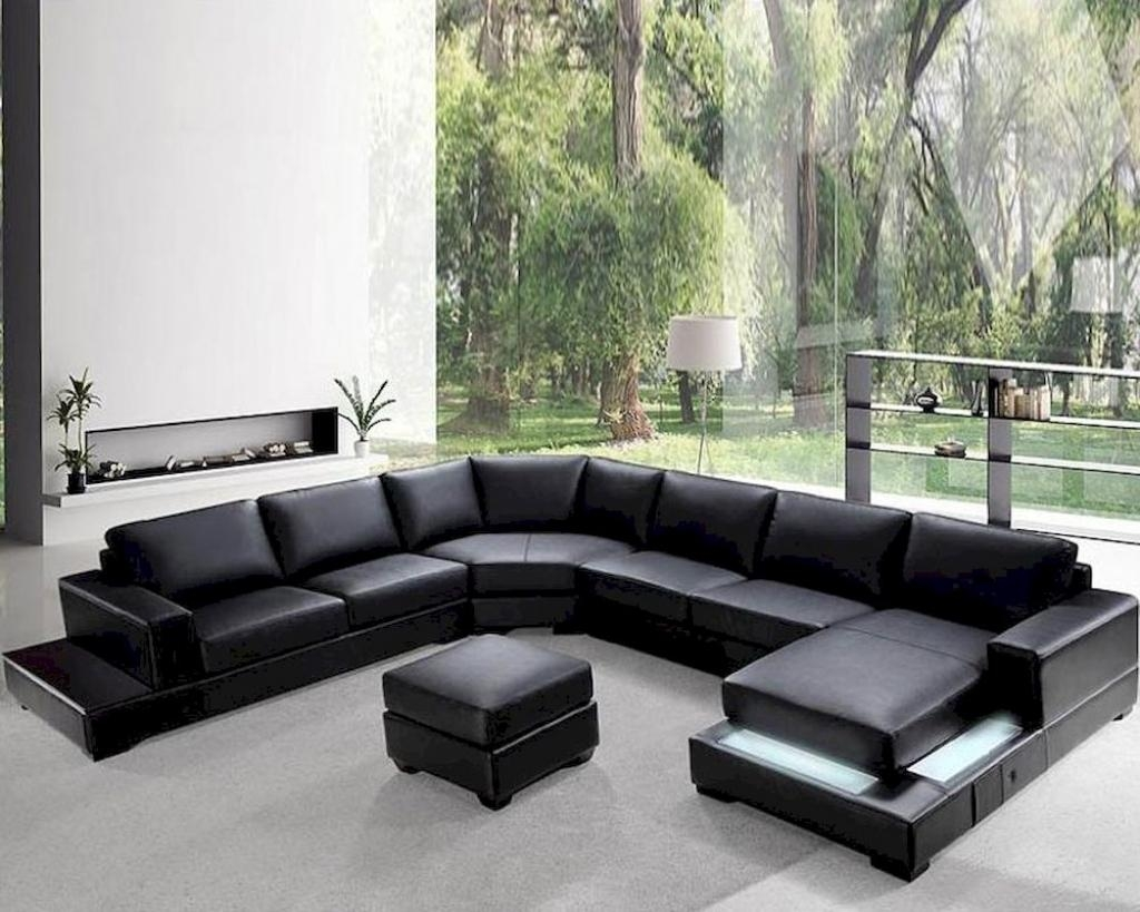 Furniture: Contemporary Leather Sectional Sofa And Mid Century Throughout Black Modern Sectional Sofas (Image 9 of 20)
