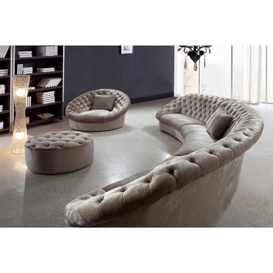 Furniture: Create Your Comfortable Living Room Decor With Round Inside Tufted Sectional With Chaise (Image 8 of 20)
