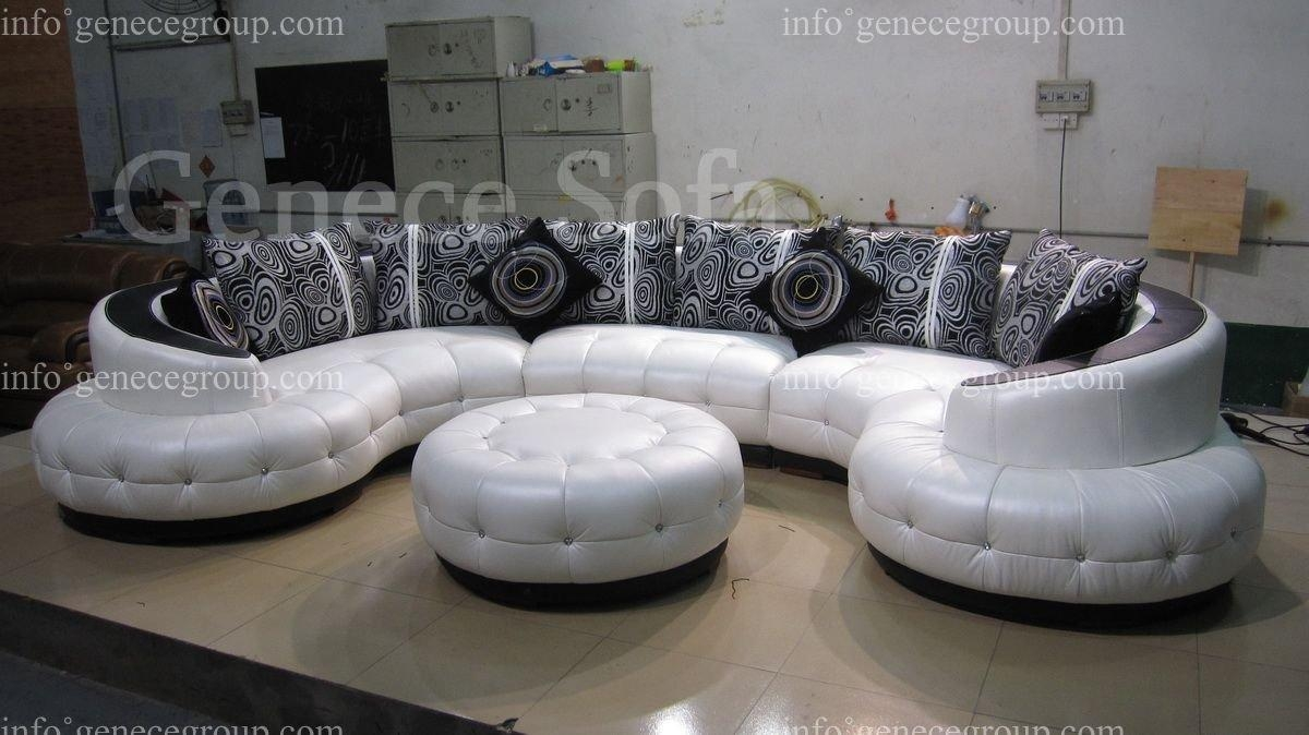 Furniture: Create Your Comfortable Living Room Decor With Round Intended For Rounded Sofa (Image 6 of 20)