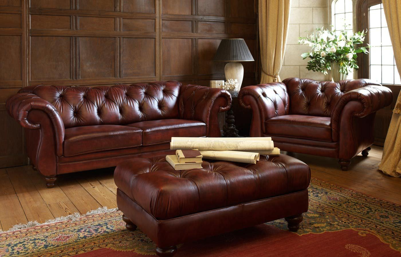 Furniture: Curtain And Narrow Bookcase With Leather Chesterfield Throughout Chesterfield Sofa And Chairs (View 17 of 20)