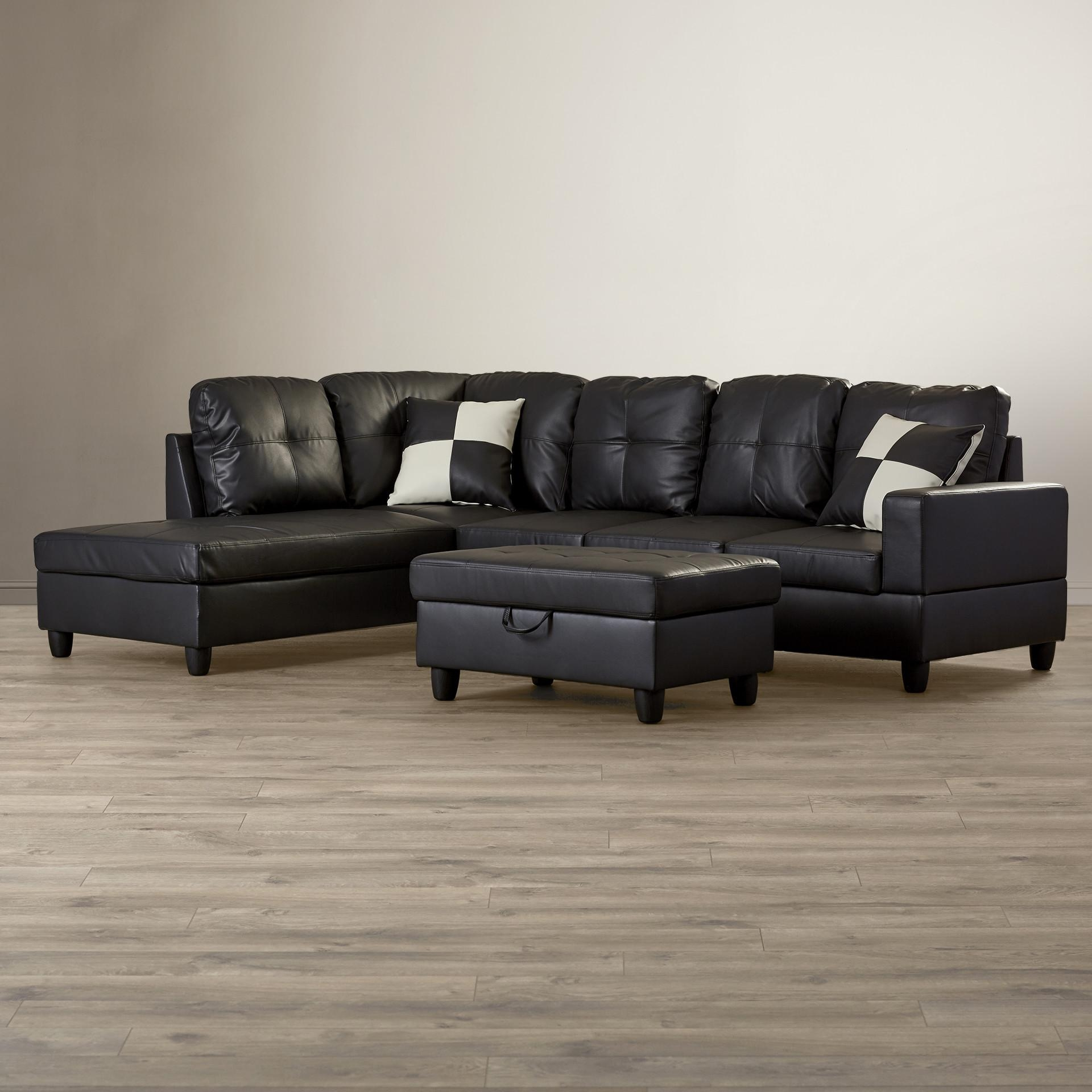 Furniture: Della Left Sectional Sofa With Storage Ottoman In Brown For Sectional Sofa With Storage (Image 6 of 20)