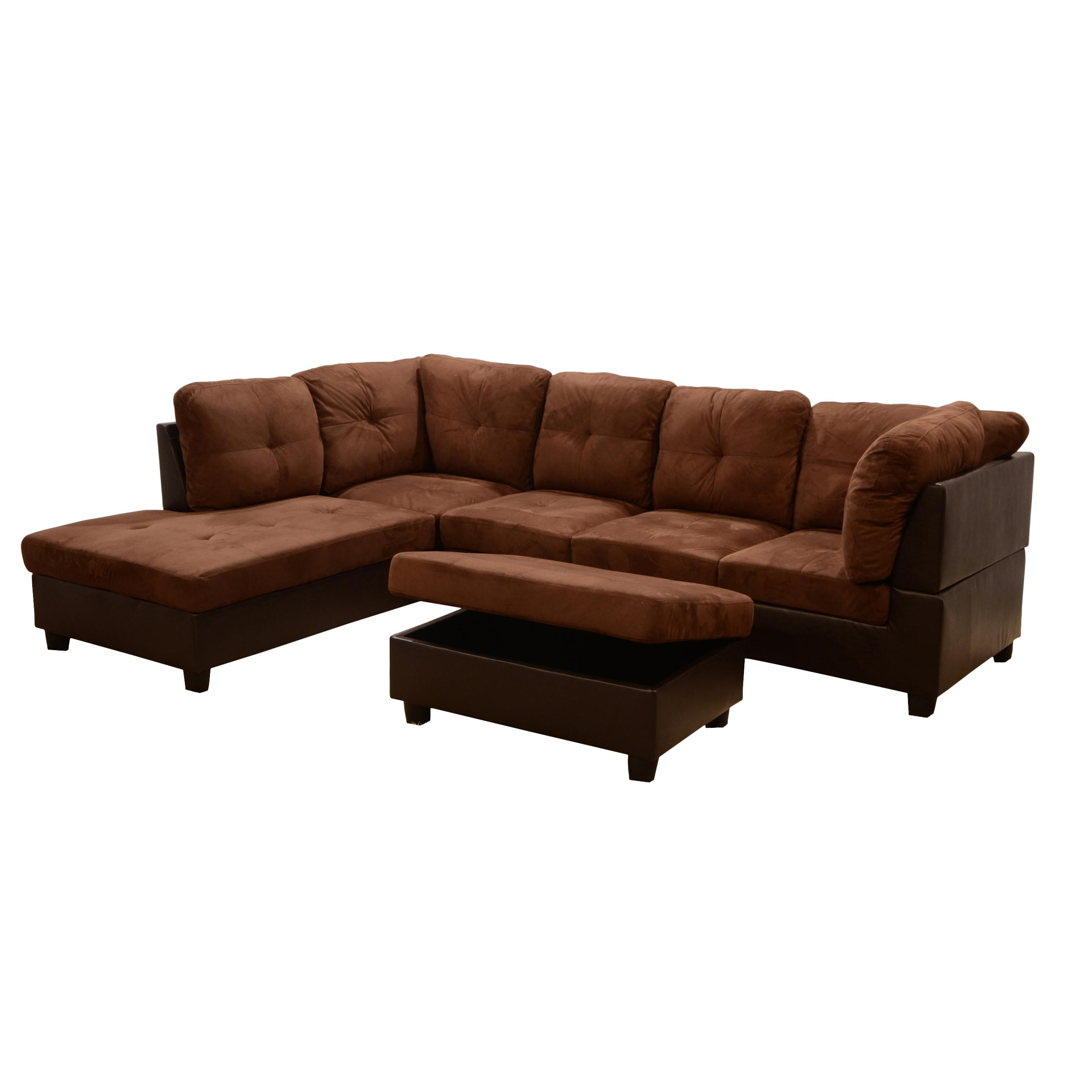 Furniture: Della Left Sectional Sofa With Storage Ottoman In Brown Throughout Sectional Sofa With Storage (Image 7 of 20)