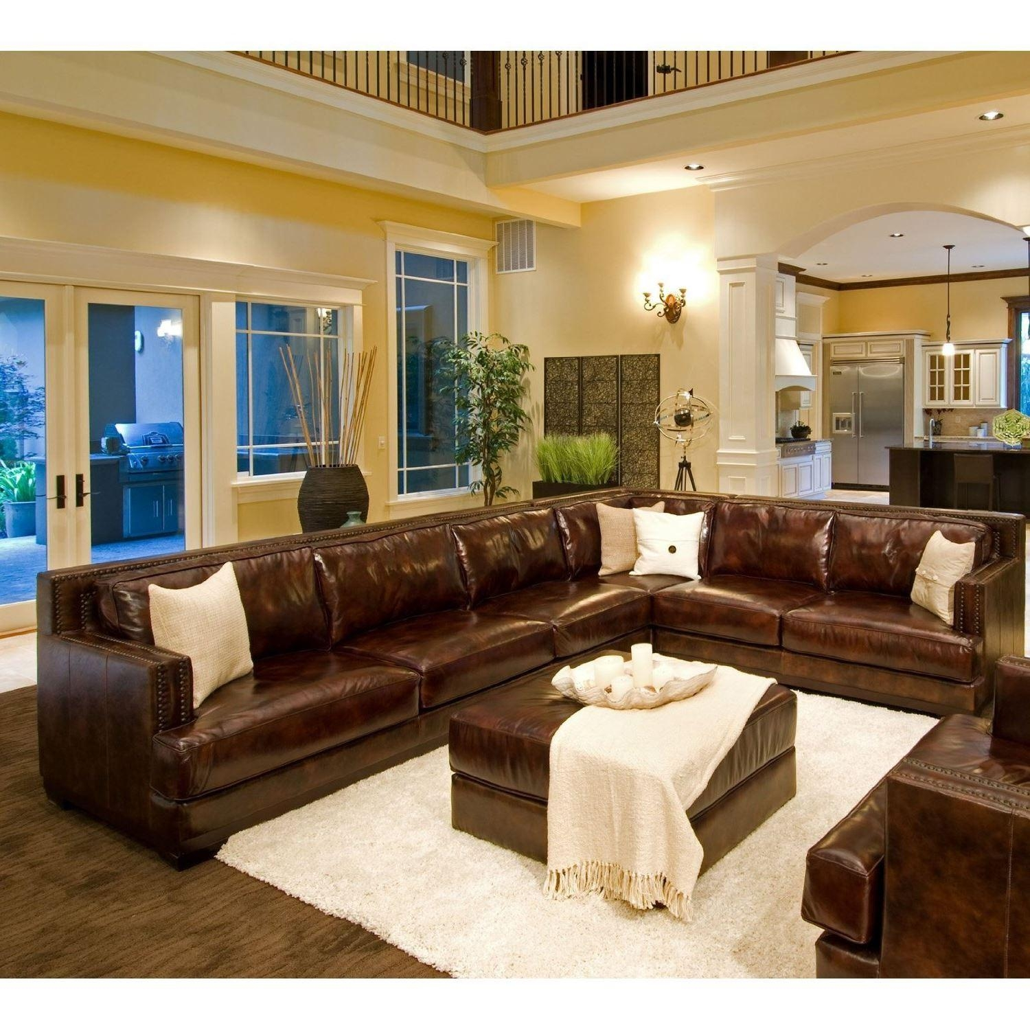 Furniture: Elegant Full Grain Leather Sofa For Luxury Living Room For Large Leather Sectional (View 13 of 20)