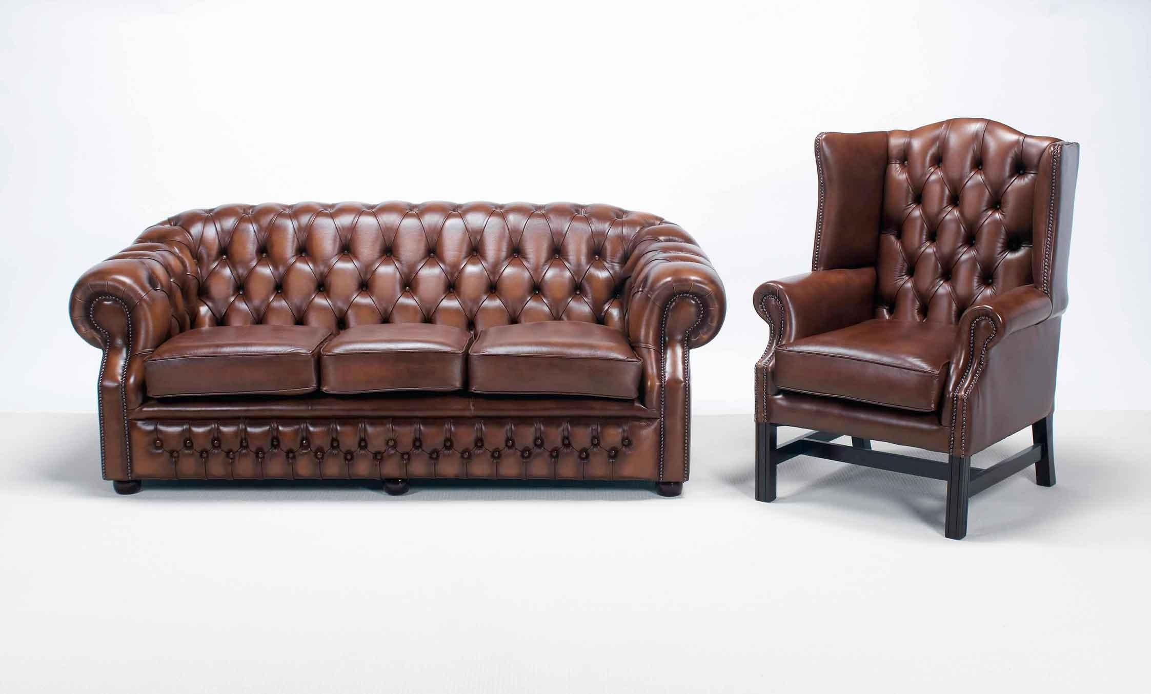 Furniture: Enchanting Chesterfield Couch For Living Room Furniture Pertaining To Brown Leather Tufted Sofas (View 15 of 20)