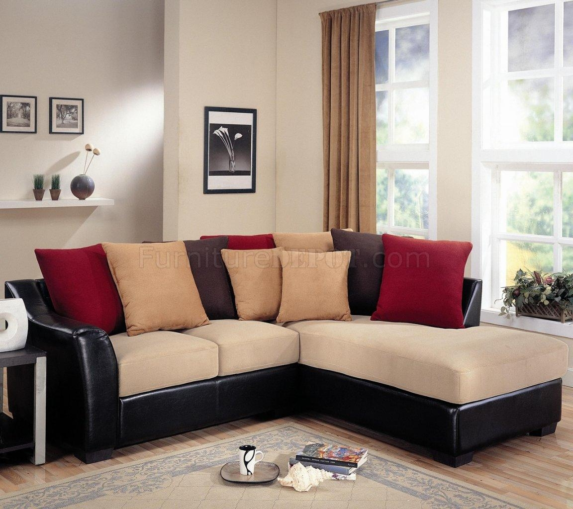 Furniture: Excellent Beige Sectional Sofa For Your Living Room With Leather And Suede Sectional (Image 6 of 20)