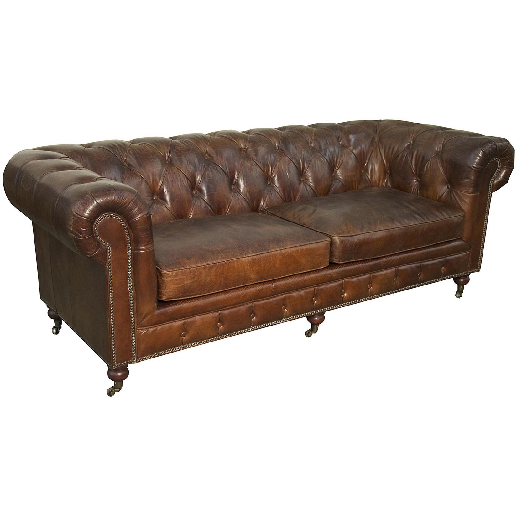 Furniture: Exquisite Comfort With Leather Tufted Sofa Pertaining To Brown Tufted Sofas (Image 11 of 20)