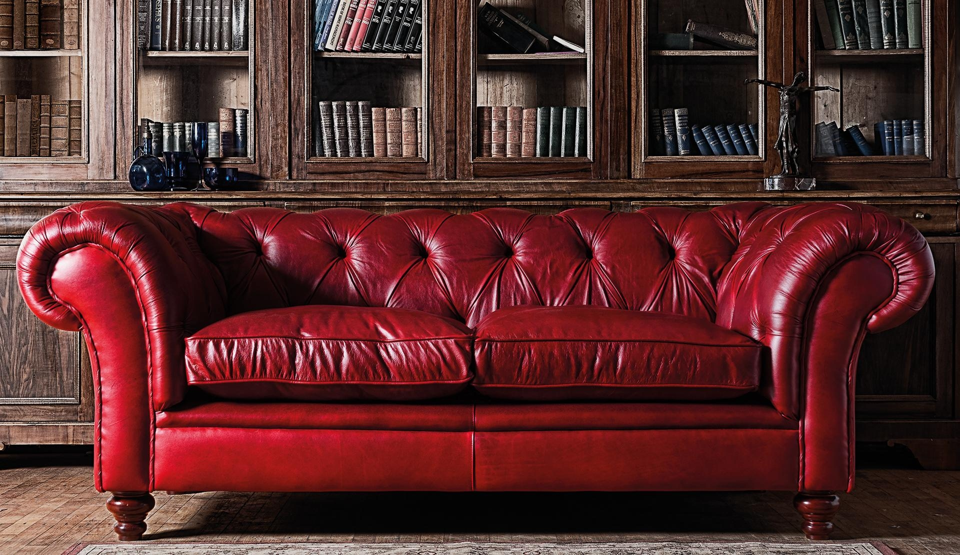Furniture: Exquisite Comfort With Leather Tufted Sofa Regarding Tufted Leather Chesterfield Sofas (Image 11 of 20)