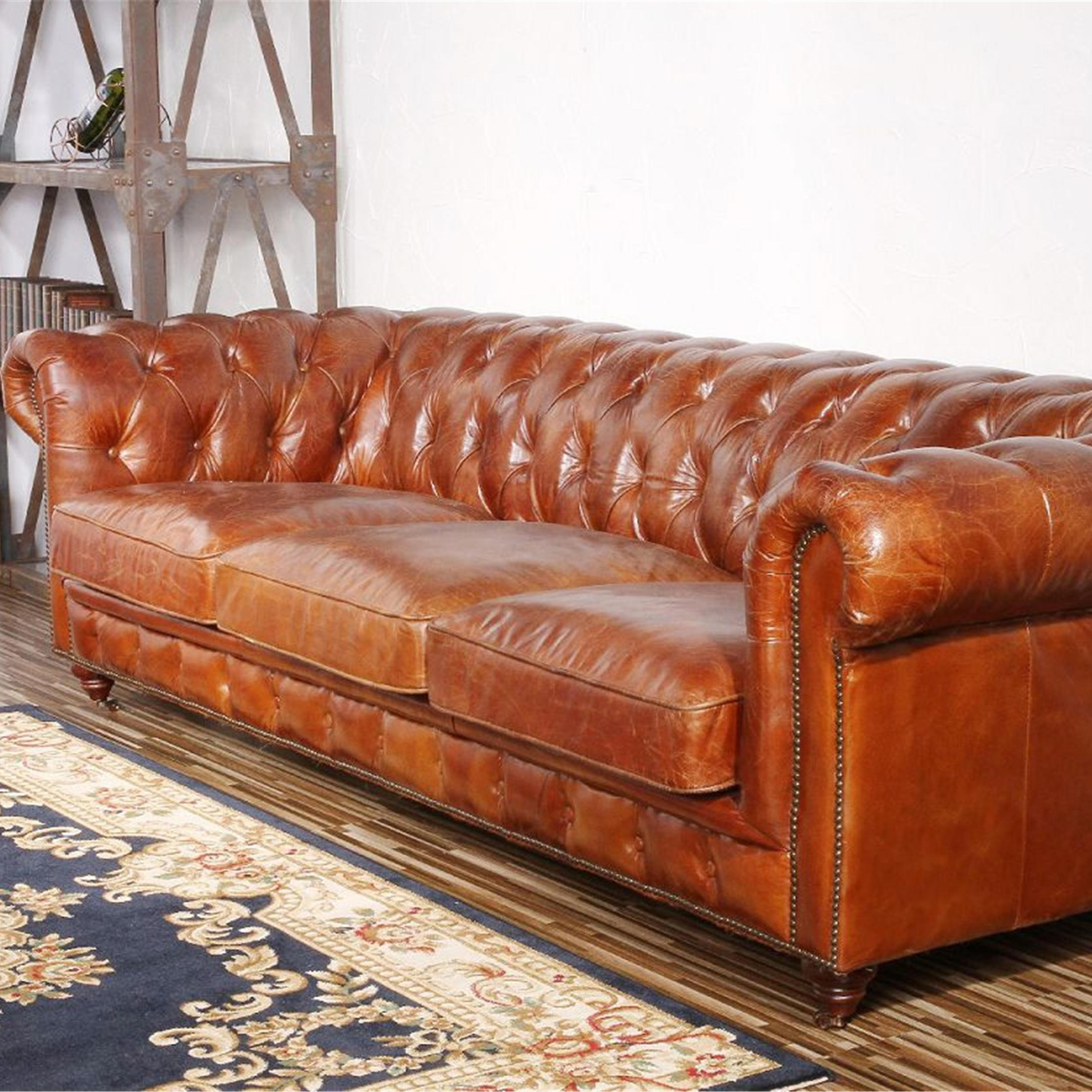 Furniture: Exquisite Comfort With Leather Tufted Sofa Throughout Caramel Leather Sofas (View 15 of 20)