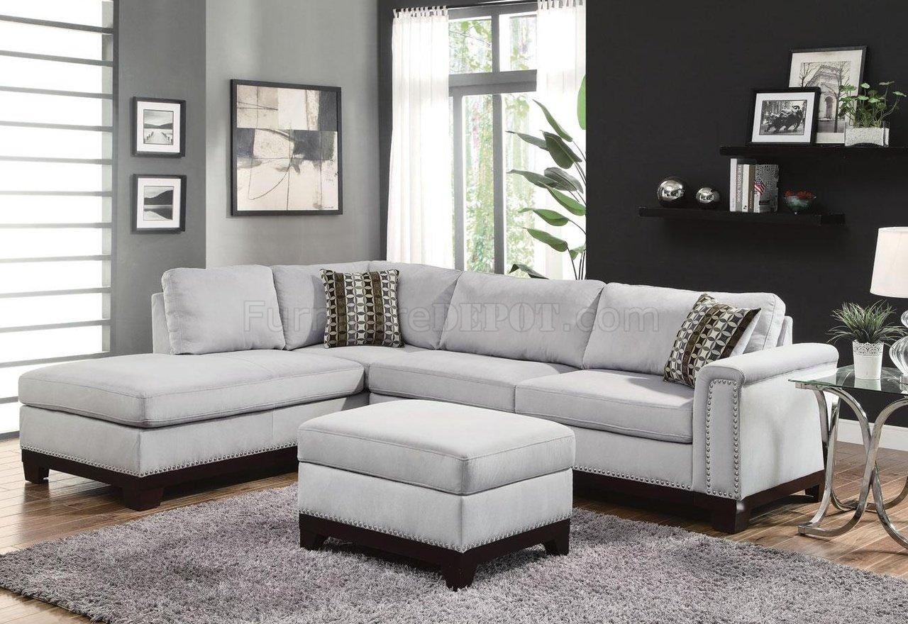 Furniture: Fabric Sectionals Microfiber Sectional Sofas With Grey Throughout Modern Microfiber Sectional Sofa (Image 12 of 20)