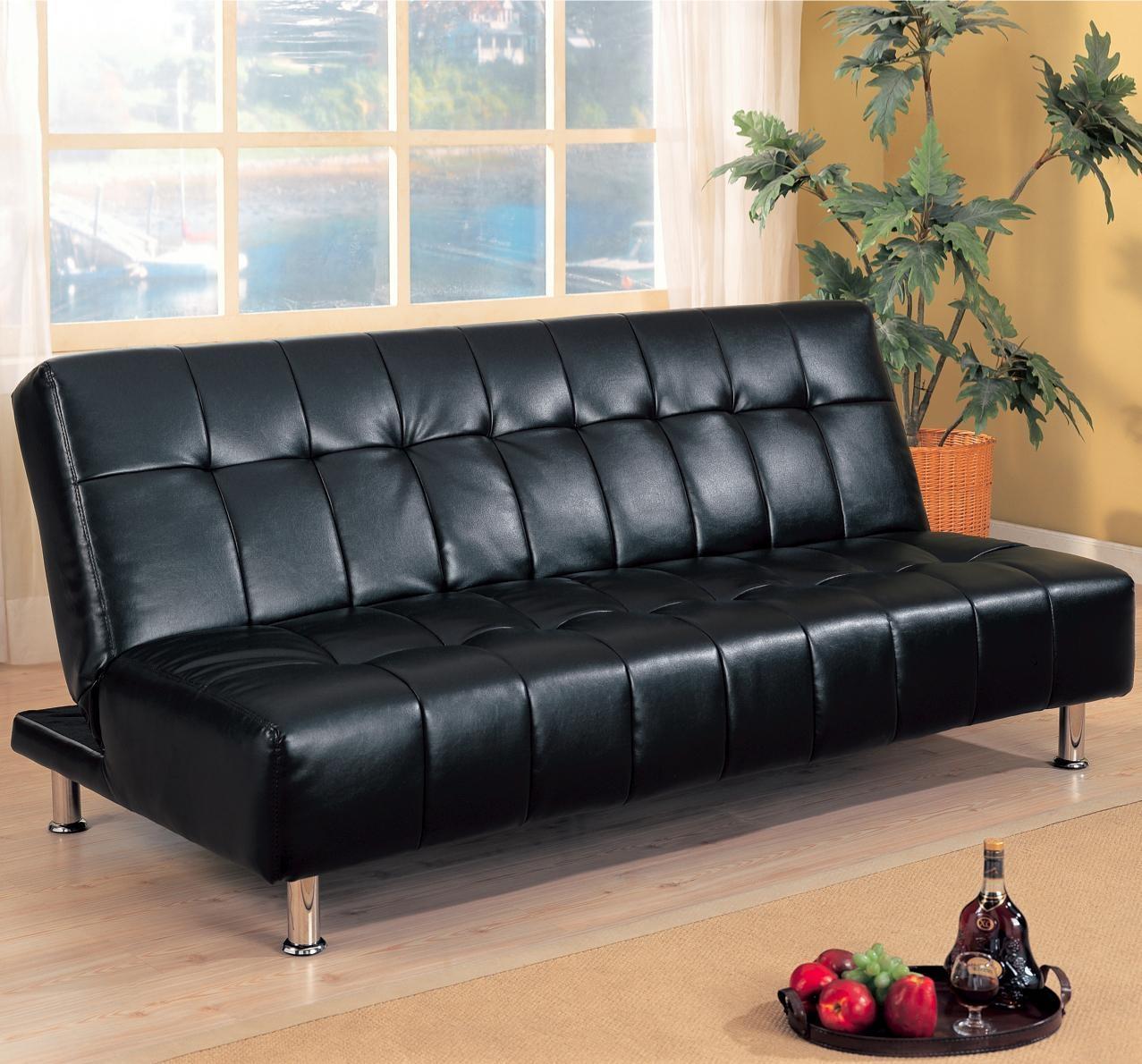 Furniture: Faux Leather Futon Sofa | Faux Leather Futon | Futon Regarding Leather Fouton Sofas (Image 8 of 20)