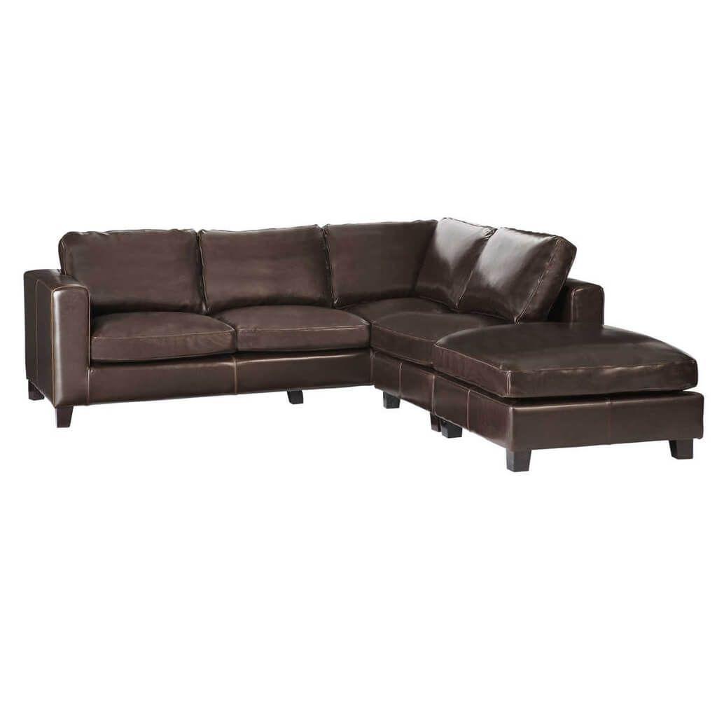 Furniture: Fay Dark Chocolate Leather Corner Sofa With Black With Regard To Black Leather Corner Sofas (Image 7 of 20)