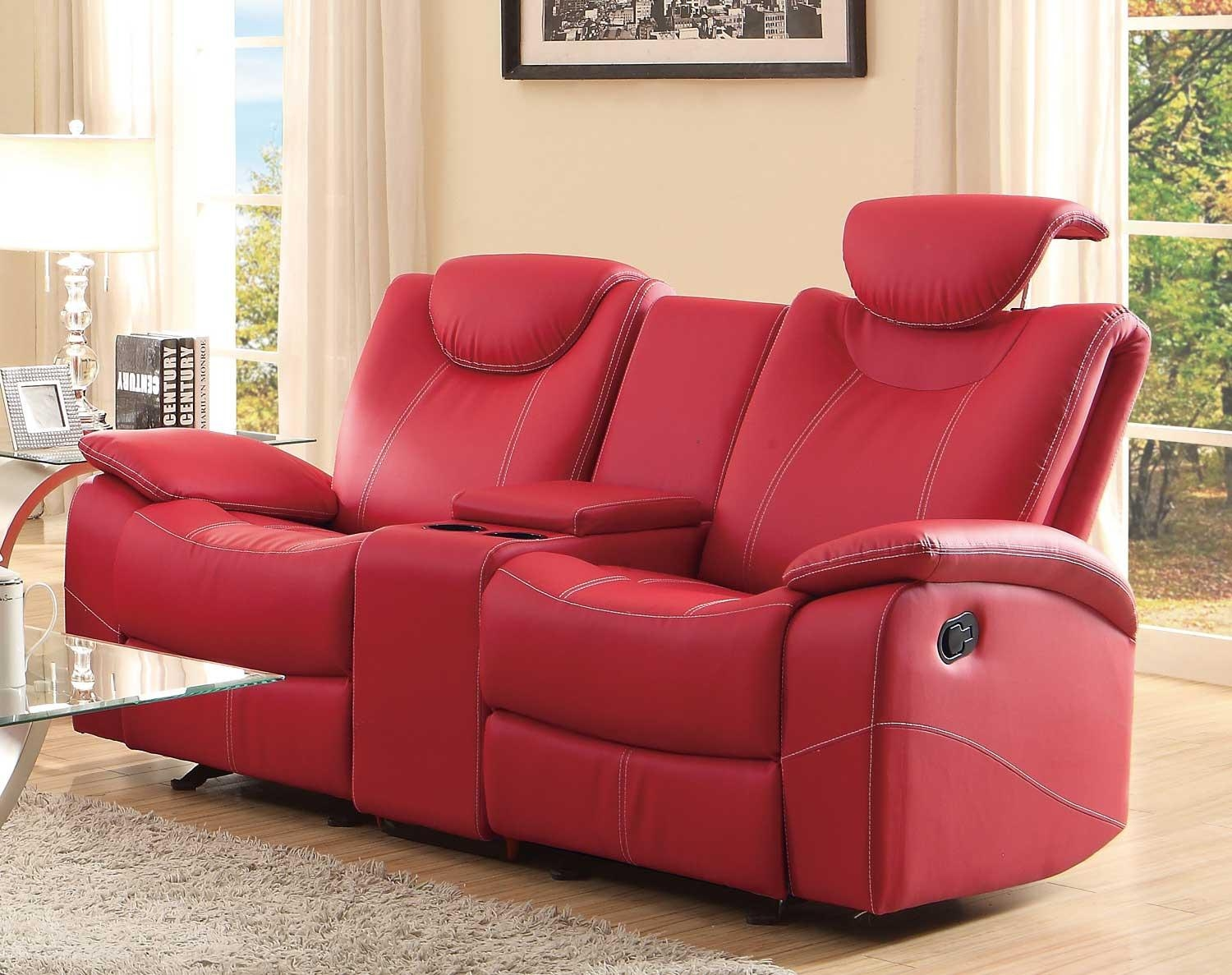 Furniture: Glamour Reclining Loveseat With Center Console For In Modern Reclining Leather Sofas (Image 5 of 20)