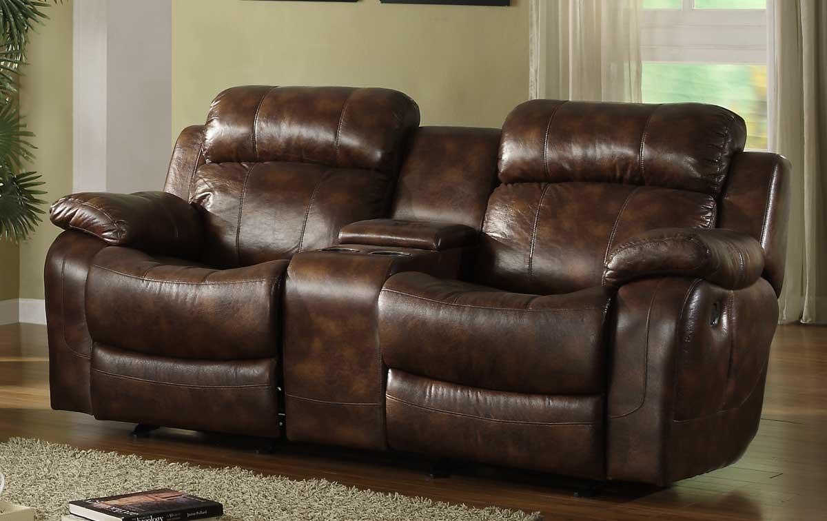 Furniture: Glamour Reclining Loveseat With Center Console For In Sofas With Consoles (Image 2 of 20)