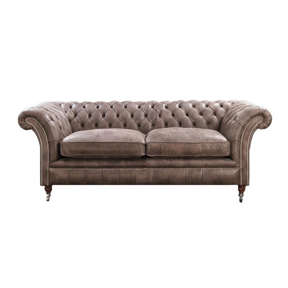 Furniture: Have A Luxury Living Room With The Elegant Chesterfield Pertaining To Leather Chesterfield Sofas (Image 10 of 20)