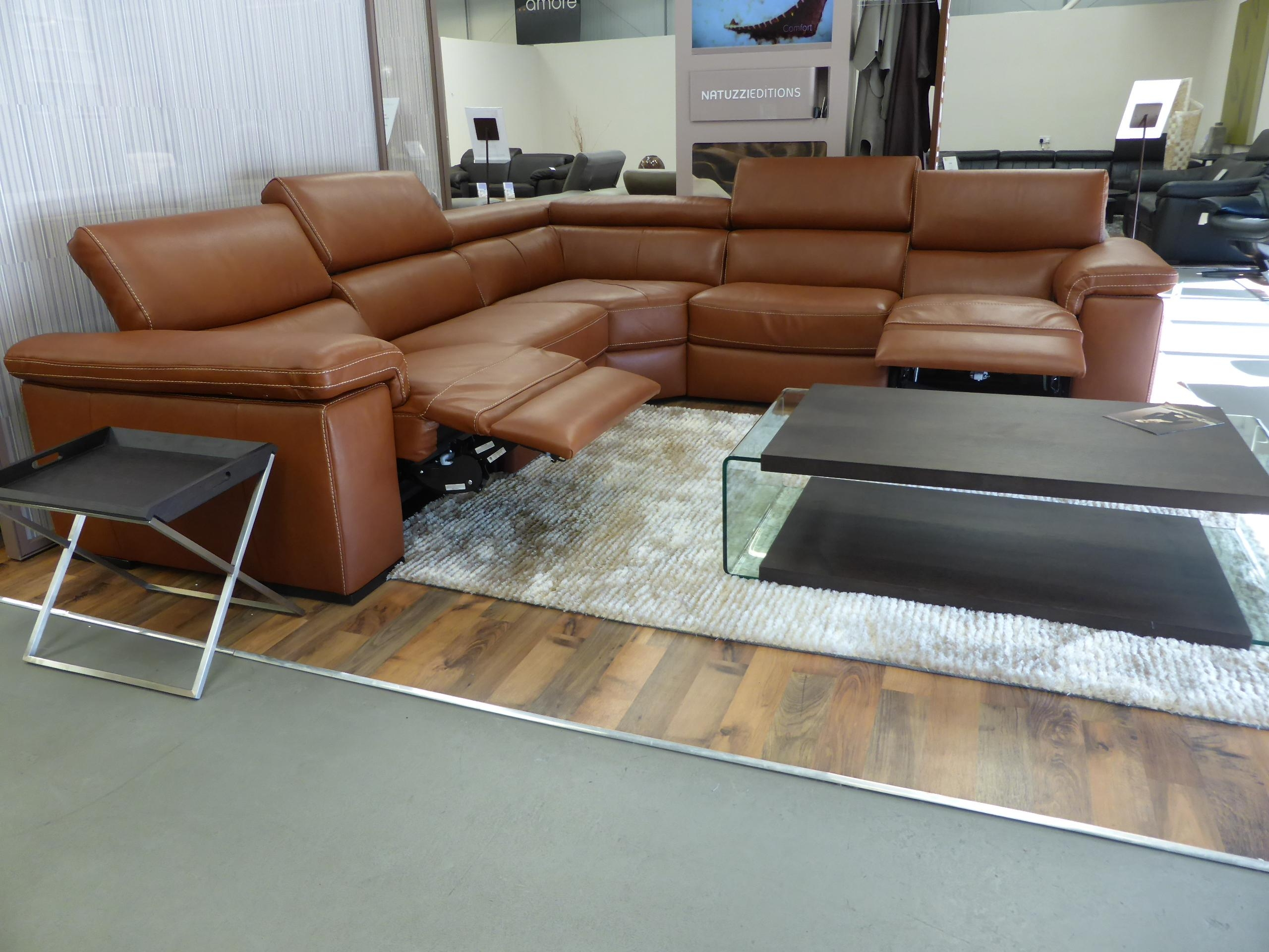Furniture: Have An Elegant Living Room With Natuzzi Leather Couch Regarding Caramel Leather Sofas (Image 11 of 20)