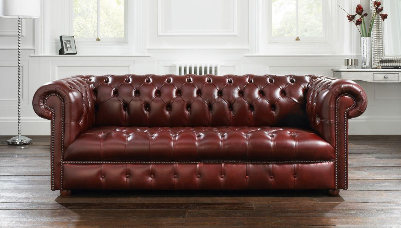 Furniture Home: Furniture Old And Vintage Brown Leather Seater Inside Brown Tufted Sofas (Image 8 of 20)