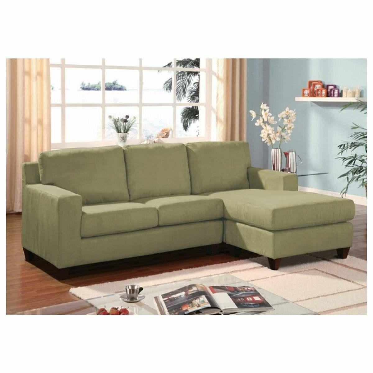 Furniture Home : Green Microfiber Reversible Sectional Sofa With In Apartment Sectional Sofa With Chaise (View 15 of 15)