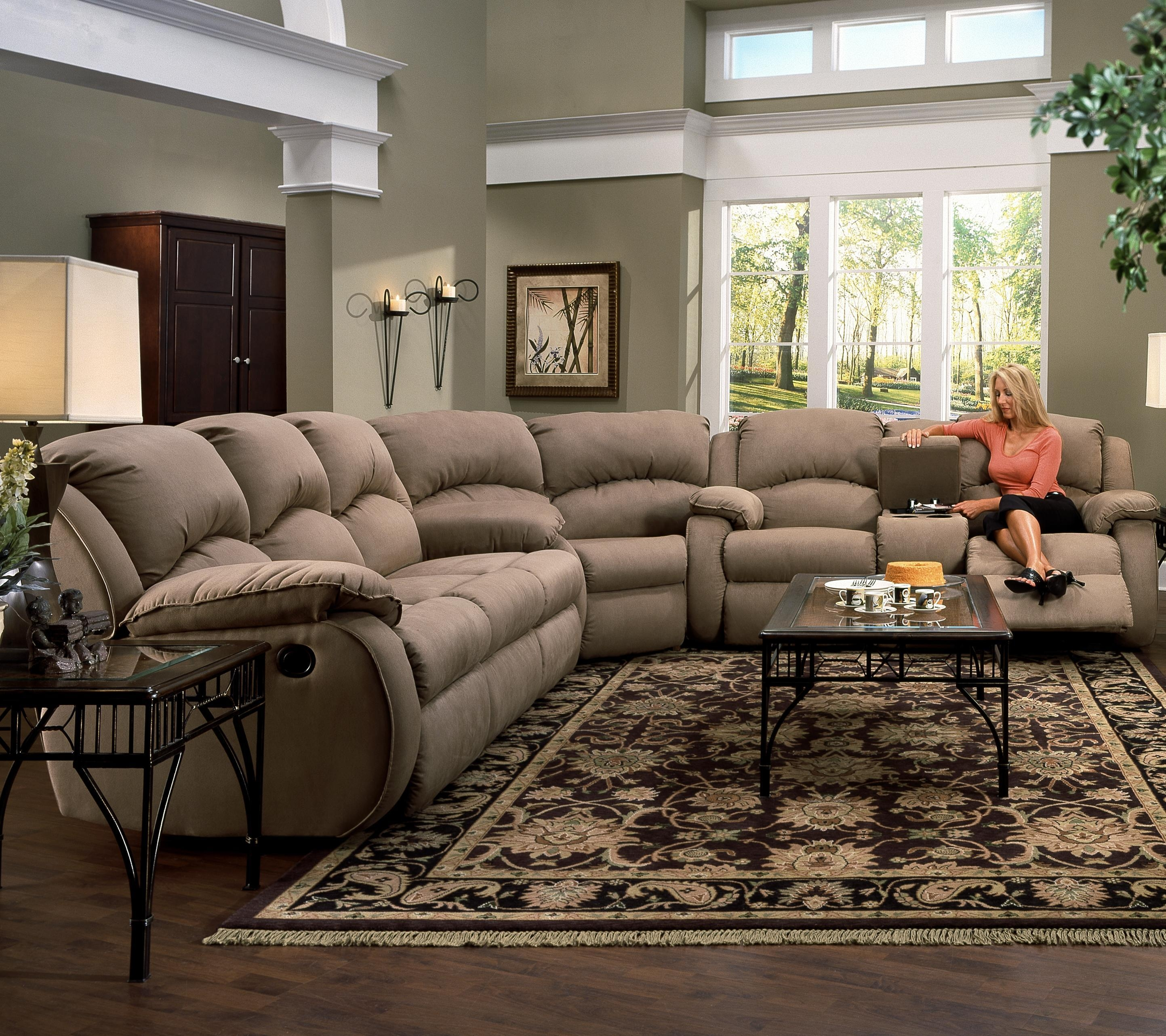 Furniture: Incredible Style Sectional Reclining Sofas For Your Throughout Sectional With Cup Holders (Image 6 of 20)
