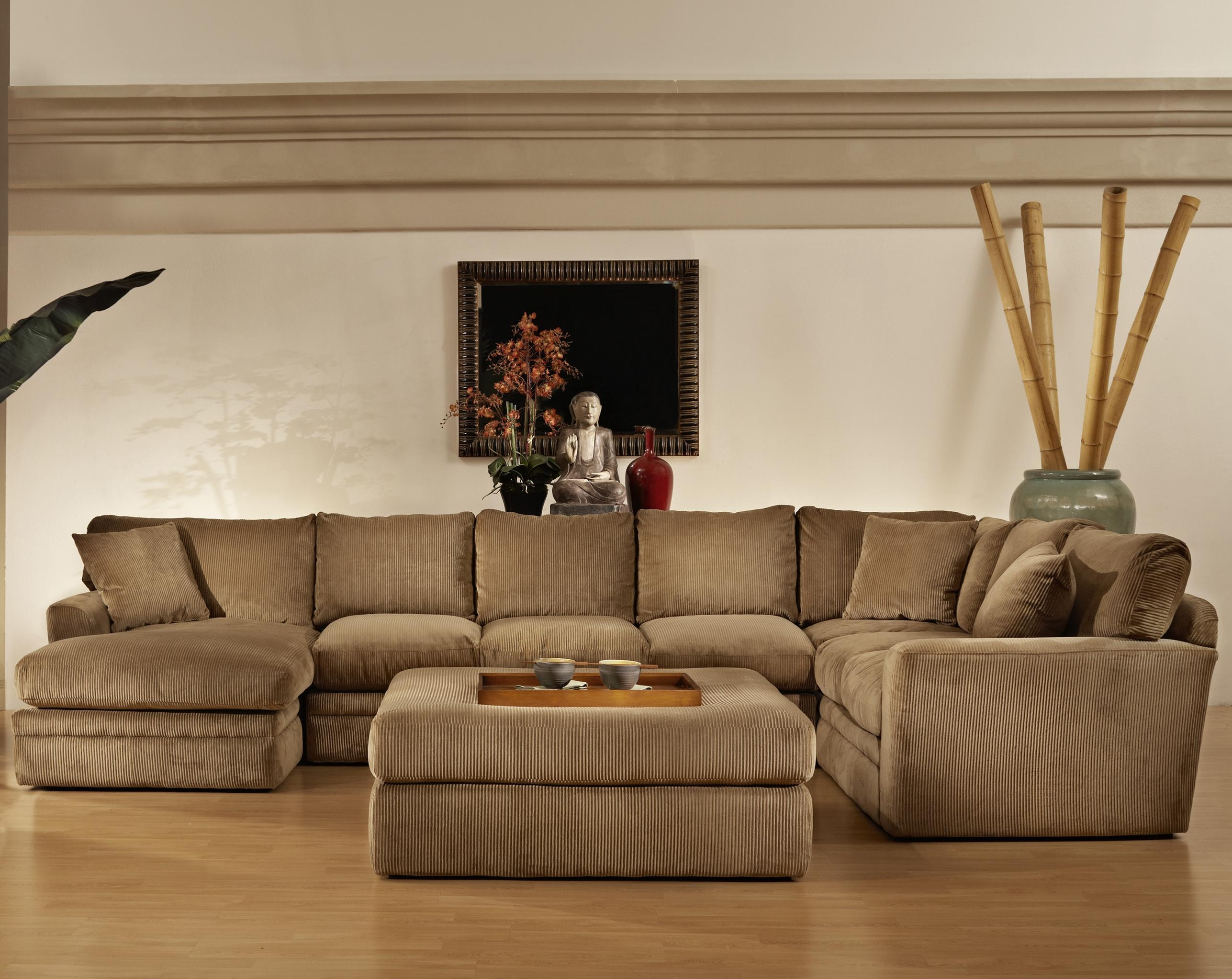 Furniture: Interesting Living Room Interior Using Large Sectional Inside Sectional Sofa With Large Ottoman (Image 4 of 20)